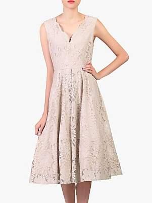 Jolie Moi Scalloped Lace V-Neck Dress