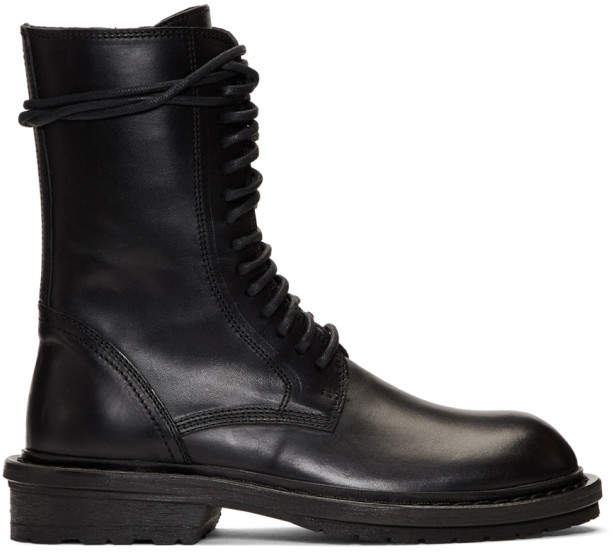 Ann Demeulemeester Black Lace-Up Boots