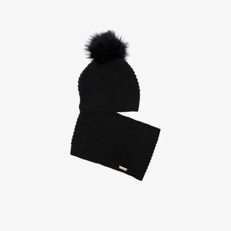 Colmar Grey faux fur pom-pom neck warmer beanie