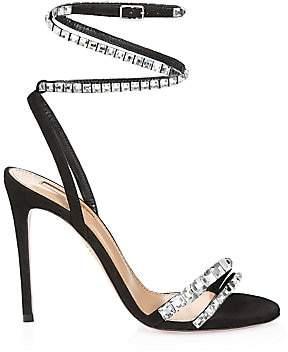 Aquazzura Women's So Vera Crystal-Embellished Suede Sandals