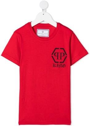 Philipp Plein Junior Hexagon-print cotton T-shirt