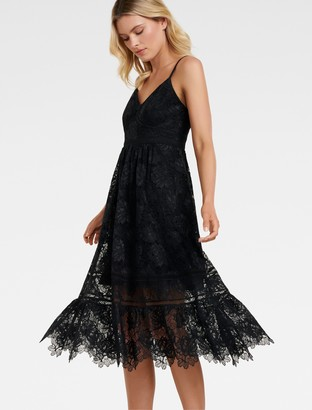 Forever New Meadow Lace Midi Dress - Black - 8