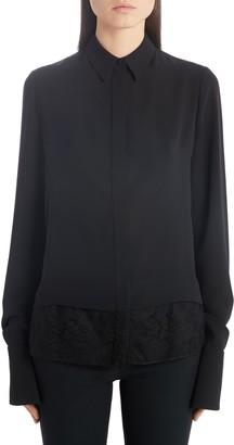 Alexander McQueen Lace Hem Heavy Silk Georgette Shirt