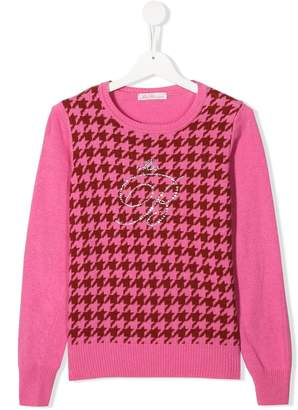 Miss Blumarine TEEN houndstooth pattern jumper