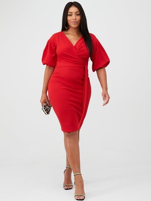 boohoo Plus Wrap Midi Dress - Red