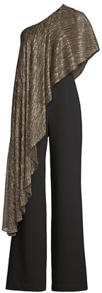 Trina Turk Eastern Luxe Koi Metallic One-Shoulder Jumpsuit