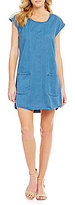 Roxy After Surfing Embroidered Patch-Pocket Chambray Denim Shift Dress