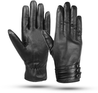 Kordear Womens Leather Gloves - Women Gloves Genuine Leather Gloves Ladies Touch Screen Gloves Soft Warm Lining Winter Gloves Womens Mittens With Three Button Decoration One Size