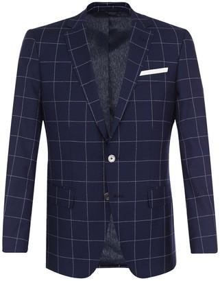 BOSS Hutson Navy Windowpane Wool Sportscoat