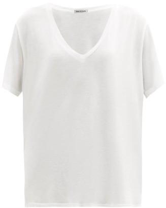 FRANCES DE LOURDES Frankie V-neck Jersey T-shirt - White