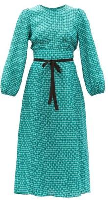 Cefinn Selma Geometric-print Twill Midi Dress - Green Multi