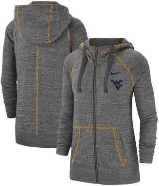 Nike Women's Heathered Gray West Virginia Mountaineers Color Trim Gym Vintage Full-Zip Hoodie