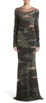 Pamella Roland Women's Brushstroke Sequin Long Sleeve Gown