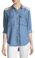 Rails Jimi Button-Front Chambray Shirt w/ Embroidery