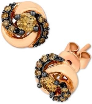 LeVian Petite Le Vian Chocolate Diamond Swirl Stud Earrings (3/8 ct. t.w.) in 14k Rose Gold