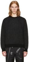 Christian Dada Black and Grey Striped Crewneck Sweater