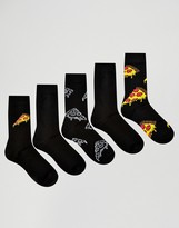Asos Socks With Pizza Design 5 Pack