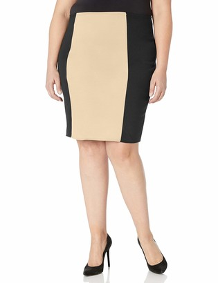 Star Vixen Women's Plus-Size Knee Length Slimming Colorblock Pencil Skirt with Back Slit
