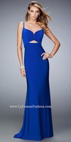 La Femme Ruched Sweetheart Semi Open Back Prom Dress