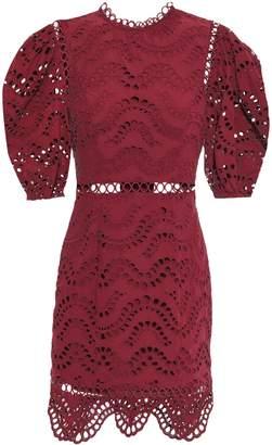 Zimmermann Jaya Wave Open-back Broderie Anglaise Cotton Mini Dress