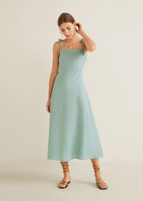 MANGO Linen strap dress
