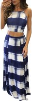 Yonala Women Sexy Gradient Stripes Backless Crop Top and Skirt 2 Pieces Set Maxi Beach Dress