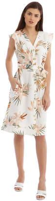 Basque Linen Tropical Button Through Dress