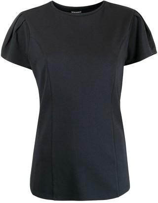 Emporio Armani Pleat Sleeve Logo Blouse