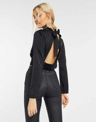 In The Style x Shaughna high neck open back top in black