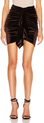 Alexandre Vauthier Velvet Jersey Mini Skirt in Chocolate | FWRD