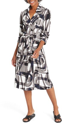 Nic+Zoe Alphabet Print Long Sleeve Trench Coat Dress