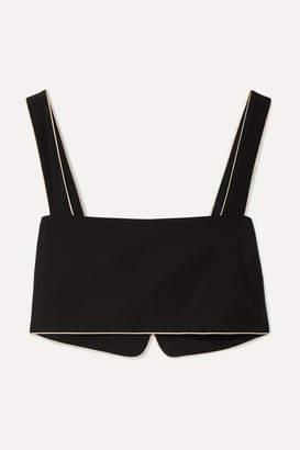 Kiki de Montparnasse Amour Cropped Satin-trimmed Silk-crepe Top - Black