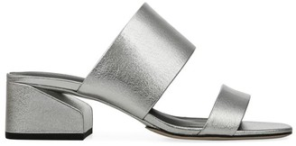 Via Spiga Phillipa Metalic-Leather Block Heel Slides