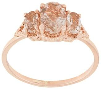 Natalie Marie 18kt rose gold Precious Trio Oval Wrap ring