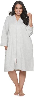 Croft & Barrow Plus Size Double Knit Zipper Robe