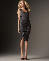 Draped Silk Tank Dress