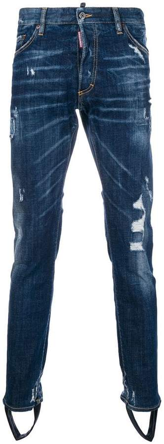 DSQUARED2 stirrup ripped jeans