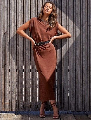 Forever New Zoe Extended-Shoulder Column Dress - Chocolate Brown - 10