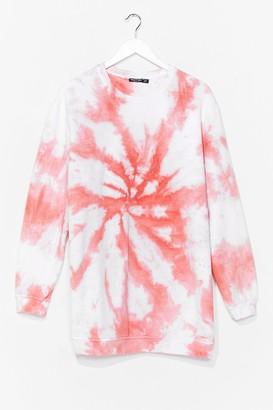 Nasty Gal Womens My Ride or Tie Dye Sweatshirt Dress - Peach