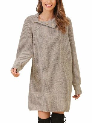 Woolen Bloom Women's Turtleneck Jumper Dress Button Polo Neck Sweater Knitted Tunic Dress Long Knitted Jumpers