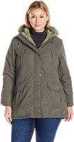 Details Women's Plus Size Anorak Parka Coat with Faux Fur Trimmed Hood