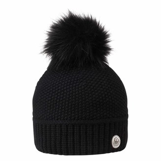Giesswein Pom-pom Beanie Riegerberg Black ONE - Women Beanie in fine Merino Wool & Cashmere Ladies Cashmere Beanie Bobble hat with Synthetic Fur Bobble Warm Knitted hat with Fleece Lining
