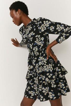 Coast Floral Tiered Hem Mini Shirt Dress
