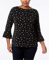 Charter Club Plus Size Pearl-Dot-Print Top, Created for Macy's