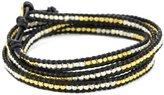 Chan Luu Gold Vermeil and Silver Bead Black Leather Wrap Bracelet
