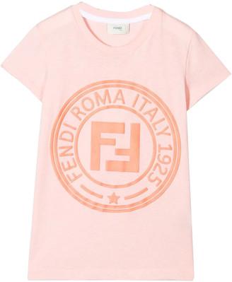 Fendi Kids Girls pink FF logo t-shirt