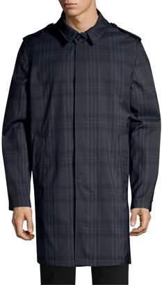 Corneliani Point Collar Plaid Raincoat