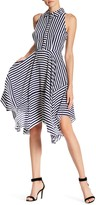 Donna Ricco Striped Handkerchief Hem Shirt Dress