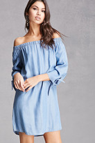 Forever 21 FOREVER 21+ Off-the-Shoulder Chambray Dress