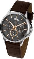Jacques Lemans Men's 42mm Brown Leather Band Steel Case Quartz Dial Chronograph Watch 1-1542H